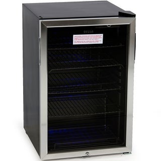 Della Beverage Center Cool Built-In Cooler Mini Refrigerator w/ Lock- Black/Stainless Steel