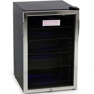Della Beverage Center Cool Built In Cooler Mini Refrigerator W/ Lock  Black/
