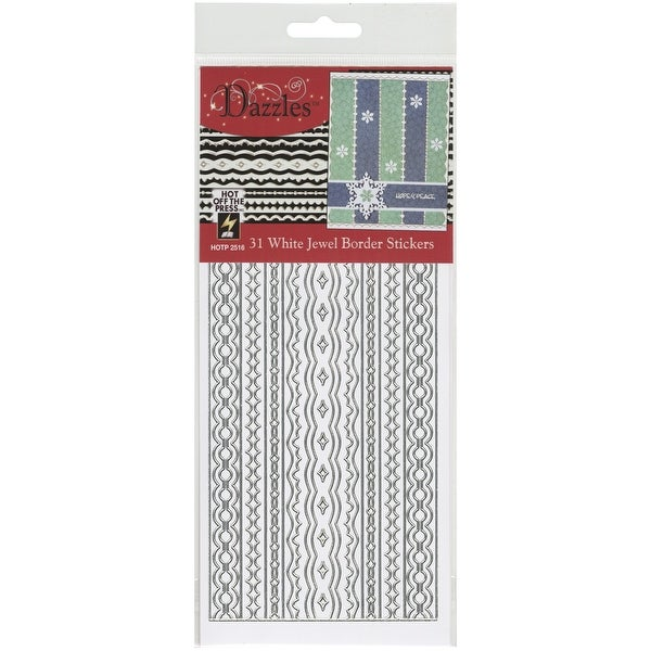 Dazzles Stickers-Jewel Borders-White - White