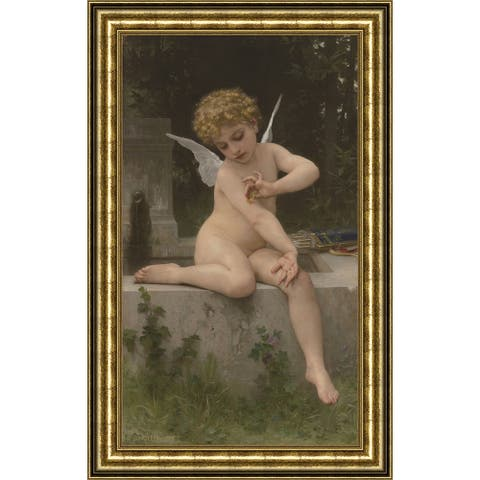 """Cupid with Butterfly by William Adolphe Bouguereau Giclee Print Oil Painting Gold Frame Size 11"""" x 15"""""""