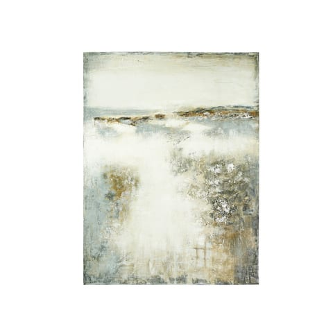 "47.25""H Hand-Painted Abstract Canvas Wall Decor - Grey"