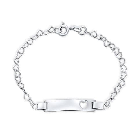 Cut Out Heart ID Bracelet Name Plated Bar Silver Sterling Small Wrists
