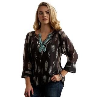 Cruel Girl Western Shirt Womens 3/4 Sleeve Feather Charcoal CTW7143001