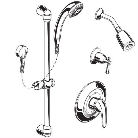 American Standard 1662.213 Commercial Shower Trim Package with Multi-Function Shower Head - Rough In Valve Included - Chrome