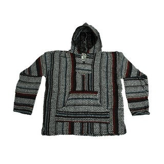 Baja Joe Red Blue & Grey Striped Eco-Friendly Woven Hoodie