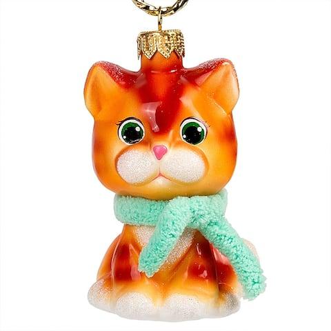 ARIEL - Ginger Kitten Hand Painted Glass Christmas Ornament