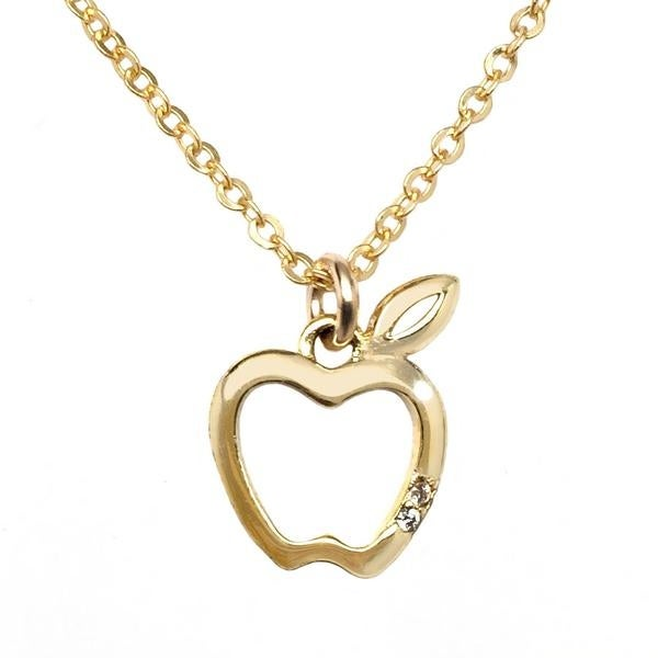 "Julieta Jewelry CZ Apple Gold Charm 16"" Necklace - Thumbnail 0"