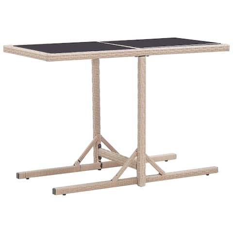 "vidaXL Garden Table Beige 43.3""x20.9""x28.3"" Glass and Poly Rattan"