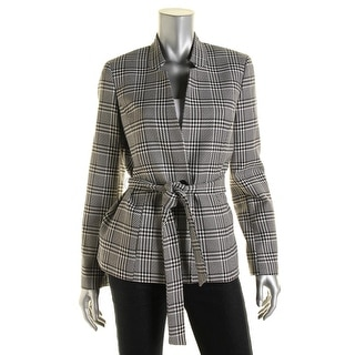 Nine West Womens Houndstooth Lined One-Button Blazer