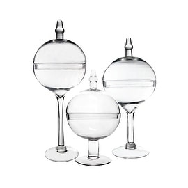 CYS? Apothecary Glass Jar Bubble Bowl with Stem Candy Buffet Containers/Vase with Lid, Set of 3