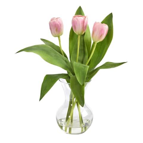 """15"""" Tulip Artificial Arrangement in Glass Vase"""