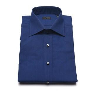 Valentino Men's Cotton Dress Shirt Solid Navy Blue