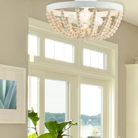 """Harmony River of Goods White Metal and Wood 15-inch Semi-Flush Mount Ceiling Light - 15"""" x 15"""" x 7.5"""""""