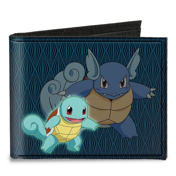Squirtle Wartortle + Blastoise Diamonds Blue Black Canvas Bi Fold Wallet One Size - One Size Fits most