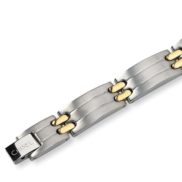 Chisel Gold-Plated Brushed and Polished Titanium Bracelet - 8.5 Inches