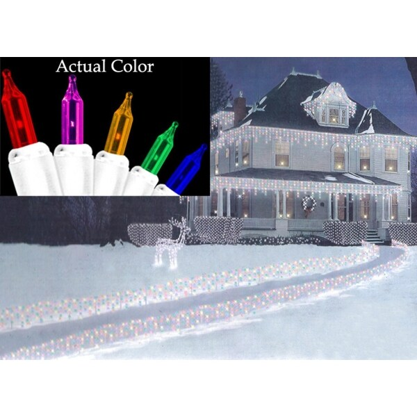 Set of 150 Multi-Colored Path-Cicles Mini Christmas Lights - White Wire - multi