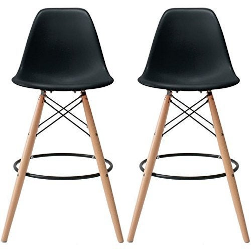 2xhome - 28-inch Plastic Chair DSW Black Counter Stool Bar Stool (Set of 2)
