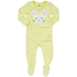 Carter's Little Girls' 1-piece Micro-fleece Pajamas (Youth 4, Stripe Mouse) - Yellow