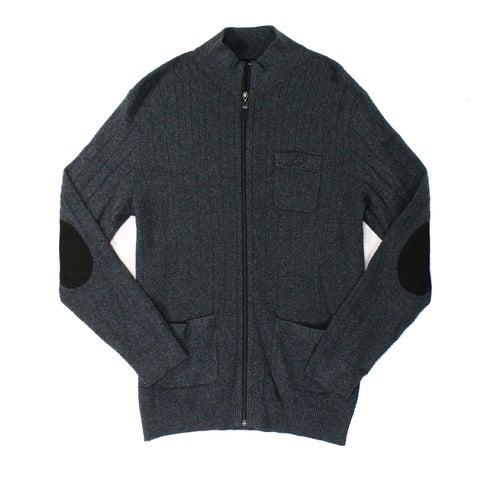 Tasso Elba Gray Mens Size XL Twist Ribbed Full Zip Mock-Neck Sweater