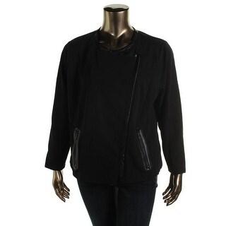 Jones New York Womens Plus Blazer Faux Leather Asymmetric - 1x