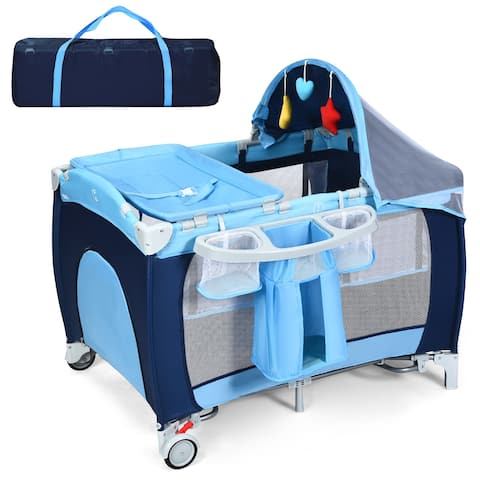 Costway Foldable Baby Crib Playpen Travel Infant Bassinet Bed Mosquito Net Music w Bag - Blue