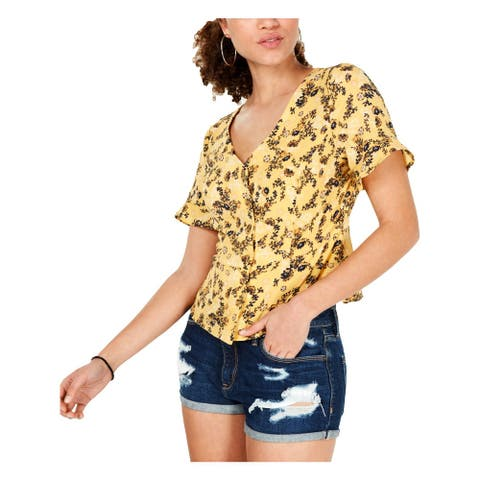 Hooked Up by IOT Womens Juniors Button-Down Top Crepe Printed - Yellow Combo - S