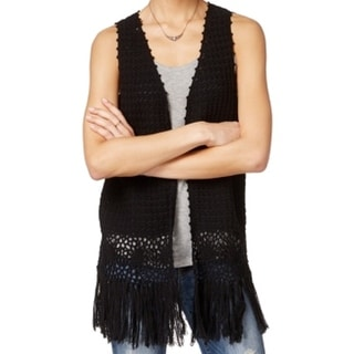 Hippie Rose NEW Black Open-Knit Medium M Junior Vest Fringe Sweater