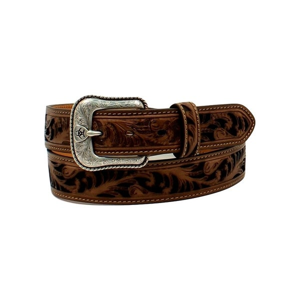 Ariat Western Belt Men Floral Pierced Shield Rope Brown Black