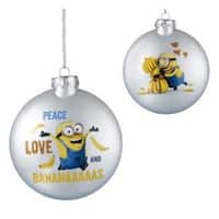 "3"" Pearl White Glass Despicable Me ""Peace, Love And Bananaaaaas"" Disc Christmas Ornament"