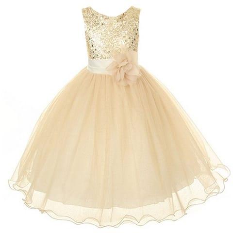 Kids Dream Big Girls Gold Sequin Bodice Floral Overlaid Flower Girl Dress 8-14