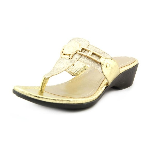 Marc Fisher Amina2 Women Open Toe Synthetic Gold Thong Sandal