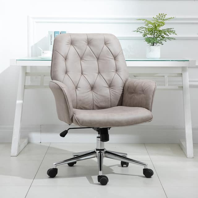 Modern Mid-Back Tufted Linen Fabric Home Office Task Chair with Arms, Swivel Adjustable - 26*27.25*39.75 - Light Grey