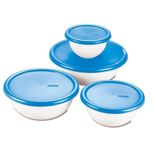 Sterilite 07479406 Covered Bowl Set, 8 Piece, White With Blueberry Lids