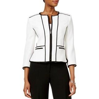 Kasper Womens Petites Collarless Blazer Textured Long Sleeves - 16p