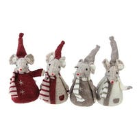 Set of 4 Ivory  Red  and Gray Chubby Christmas Standing Mice Table Figures 5.5""