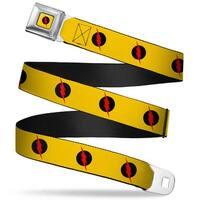 Reverse Flash Logo Full Color Golden Yellow Black Red Reverse Flash Logo Seatbelt Belt