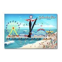 Galveston, Texas - Retro Pier - LP Artwork (Acrylic Wall Clock) - acrylic wall clock
