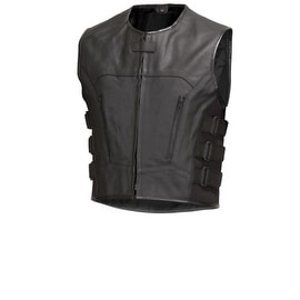 Men Leather Motorcycle Biker Vest Bullet Proof Style Black by Xtreemgear MBV107