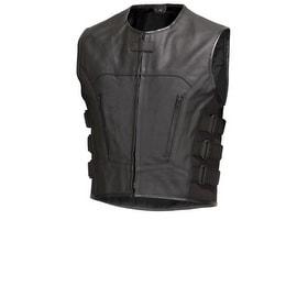 Men Leather Motorcycle Biker Vest Bullet Proof Style Black by Xtreemgear MBV107
