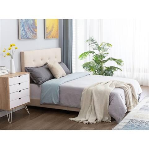 Upholstered Full Platform Bed/Button Tufted Bed With Slat Support,Beige
