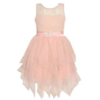 Little Girls Blush Lace Brooch Cascade Ruffle Tea-Length Christmas Dress