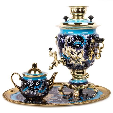 Firebird Hand-Painted Electric Russian Samovar Set w/ Tray & Teapot