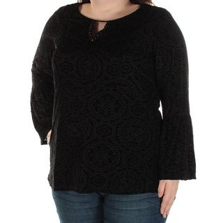 STYLE & COMPANY $45 1408 Black Ikat Cut Out Velvet Bell Sleeve Top 2X Plus B+B