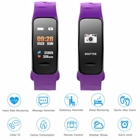 Fitness Tracker Heart Rate Monitor Watch Blood Pressure Waterproof Smart Wristband, Purple