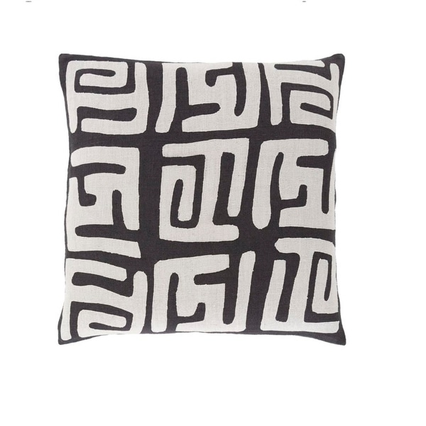 """18"""" Tribal Rhythm Mist Gray and Licorice Black Woven Decorative Throw Pillow-Down Filler"""