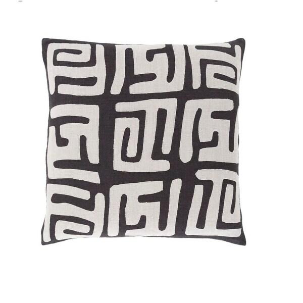 "18"" Tribal Rhythm Mist Gray and Licorice Black Woven Decorative Throw Pillow"