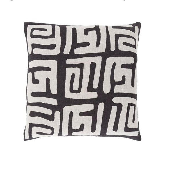 """22"""" Tribal Rhythm Mist Gray and Licorice Black Woven Decorative Throw Pillow-Down Filler"""