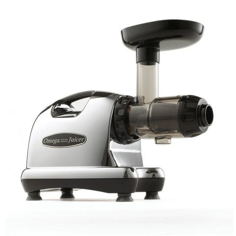 Omega Juicers J8006 Nutrition Center Quiet Dual-Stage Slow Speed HD Masticating Juicer, Silver & Black