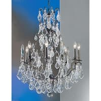 "Classic Lighting 8009 37"" Crystal Cast Brass Chandelier from the Versailles Collection - Aged Bronze"