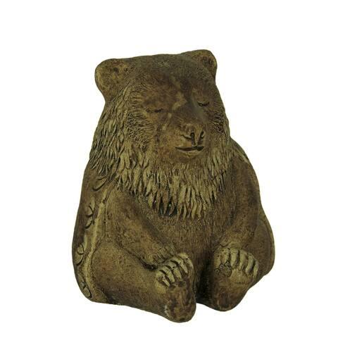 Designer Stone Driftwood Gray Zen Bear Concrete Statue - 5.75 X 4 X 4 inches